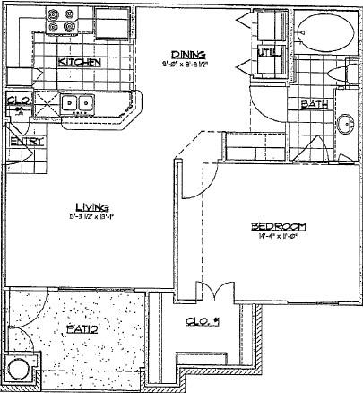 718 sq. ft. A1/60% floor plan