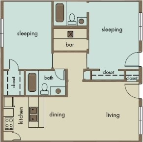 900 sq. ft. B4/FREEDOM floor plan