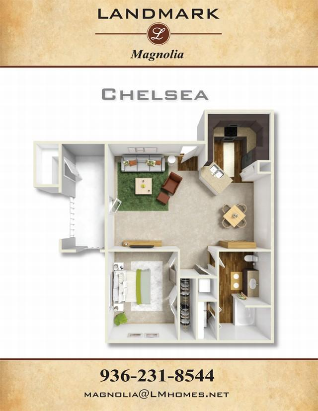 826 sq. ft. Chelsea floor plan