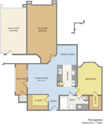 770 sq. ft. Cypress floor plan