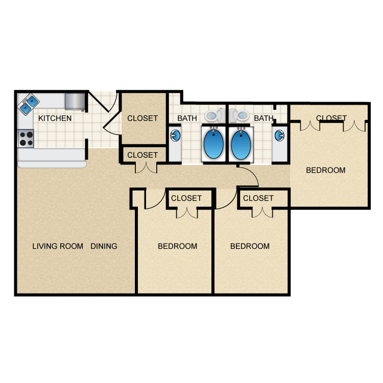 1,214 sq. ft. C1 floor plan