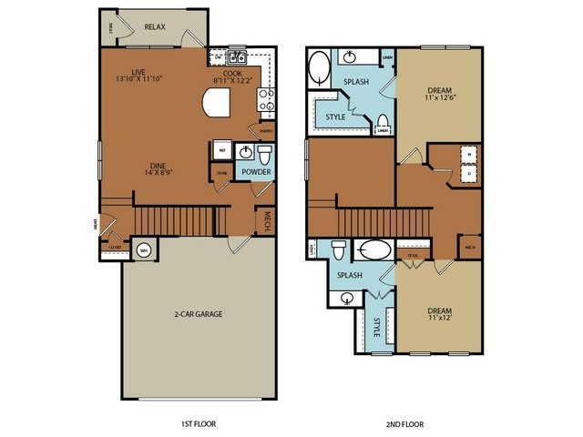 1,340 sq. ft. B2 floor plan