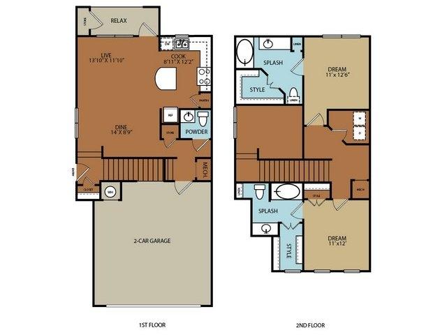 1,340 sq. ft. B2 floor plan
