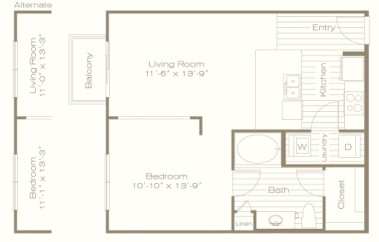 680 sq. ft. E3 floor plan