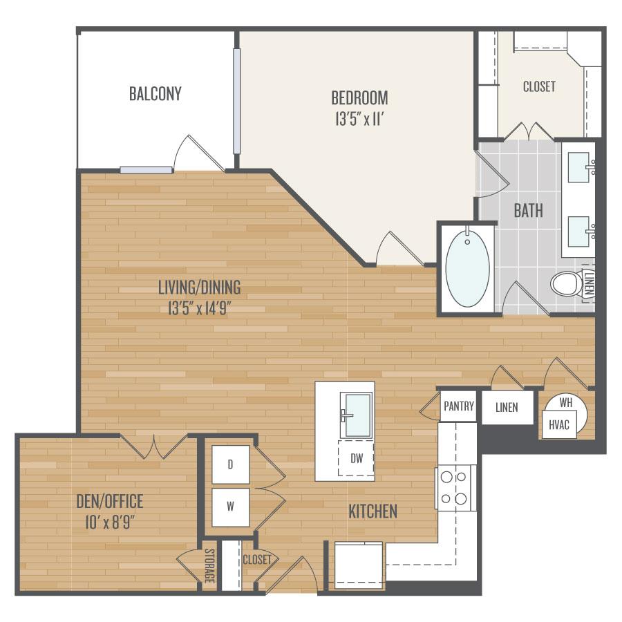 967 sq. ft. A12 floor plan