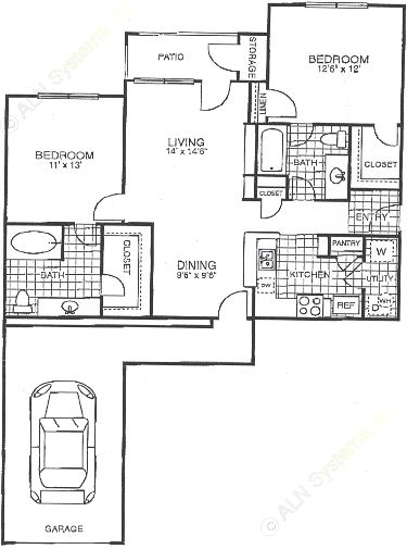 1,047 sq. ft. B2G floor plan