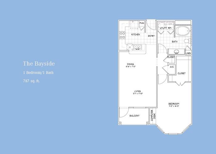 787 sq. ft. Bayside floor plan