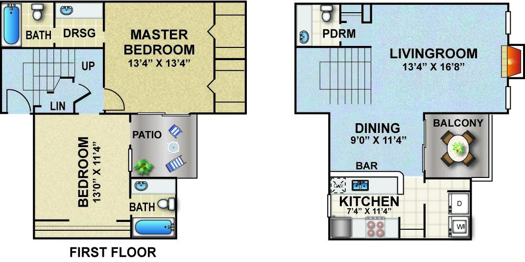 1,262 sq. ft. W2 floor plan