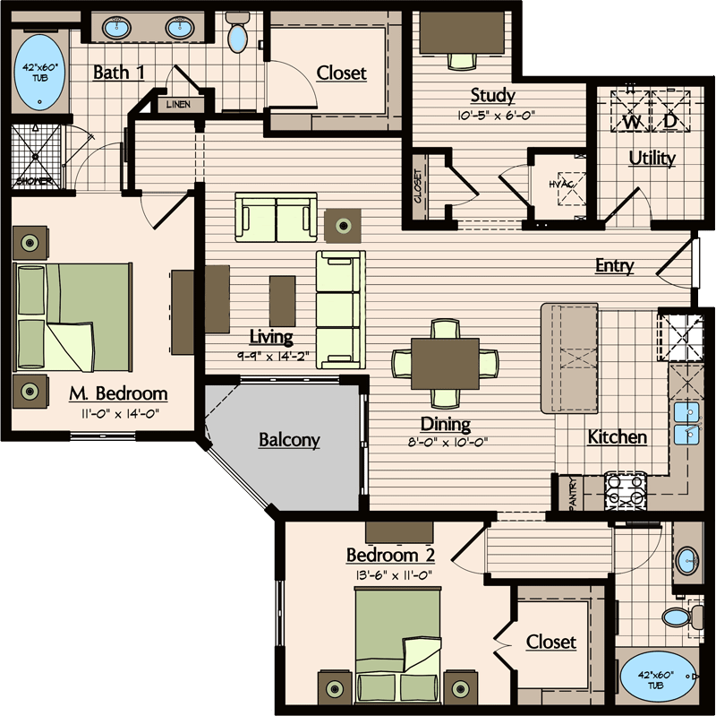 1,400 sq. ft. floor plan