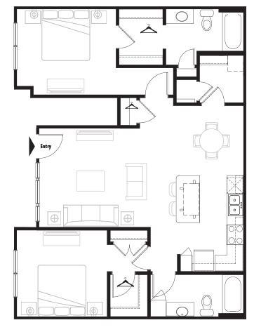 1,088 sq. ft. Grand Courtyard floor plan
