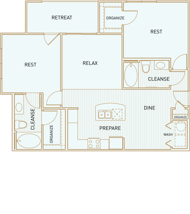 995 sq. ft. Deep Eddy floor plan