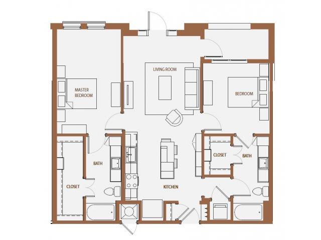 1,084 sq. ft. B1-2 floor plan
