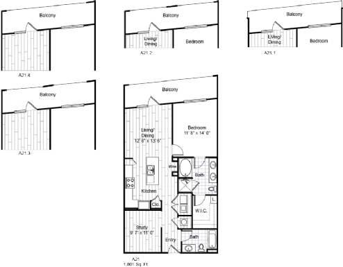 1,001 sq. ft. A21 floor plan