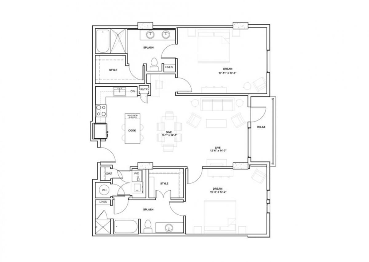 1,433 sq. ft. Hunt floor plan