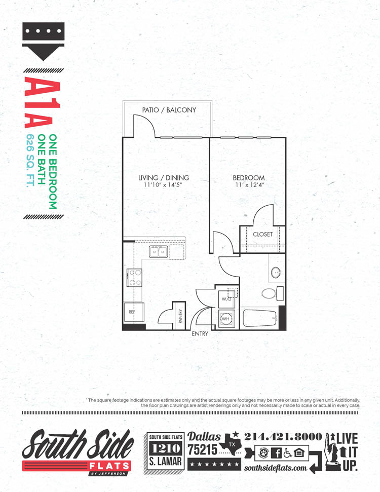 626 sq. ft. A1A floor plan