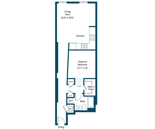 807 sq. ft. AJ floor plan