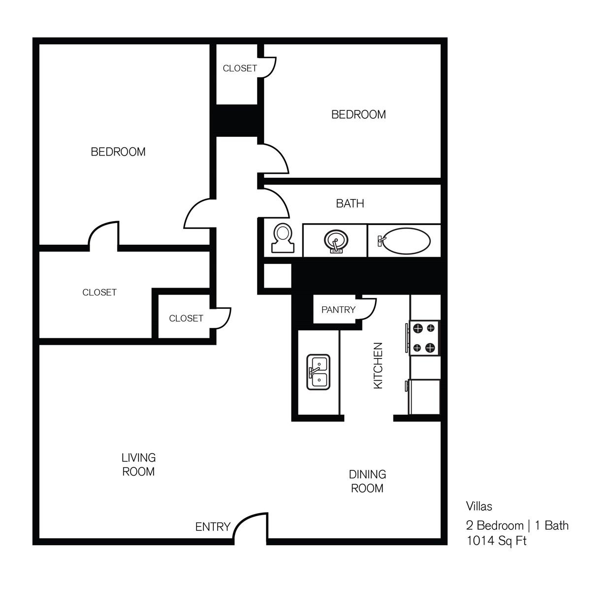 1,014 sq. ft. Colonial 2 floor plan