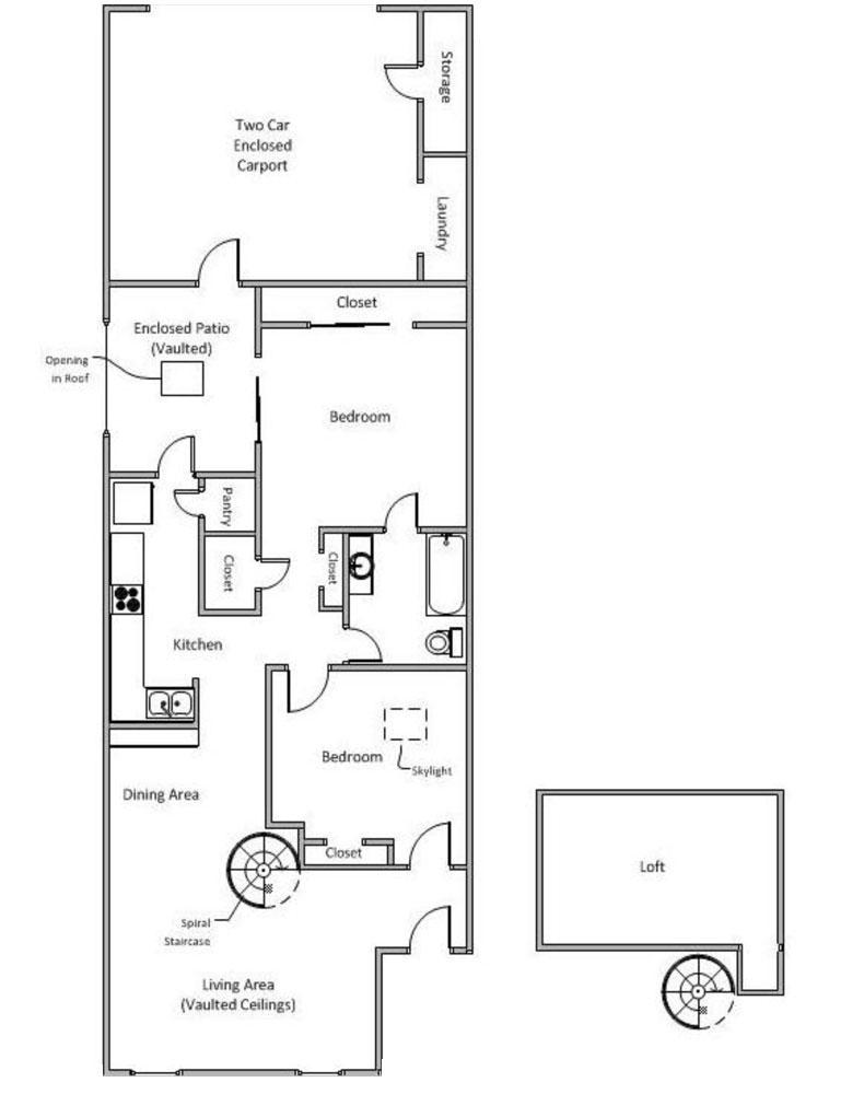 1,001 sq. ft. E floor plan