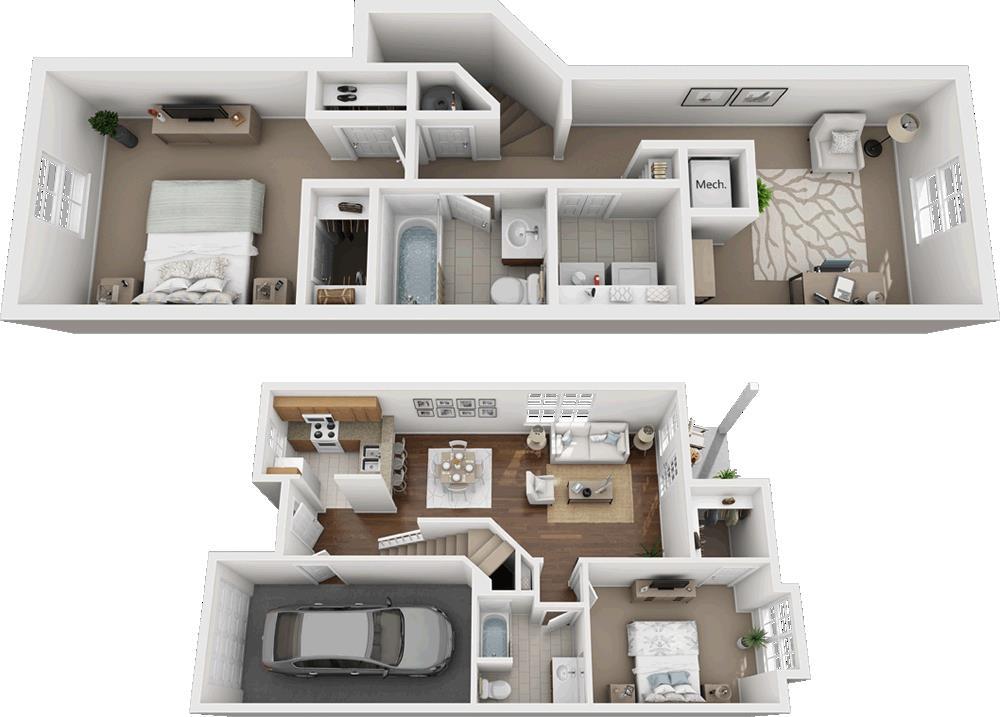 1,262 sq. ft. 60% floor plan