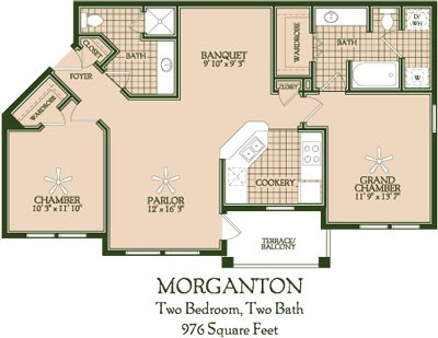 976 sq. ft. Morganton floor plan