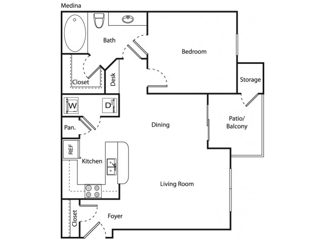 752 sq. ft. Medina floor plan