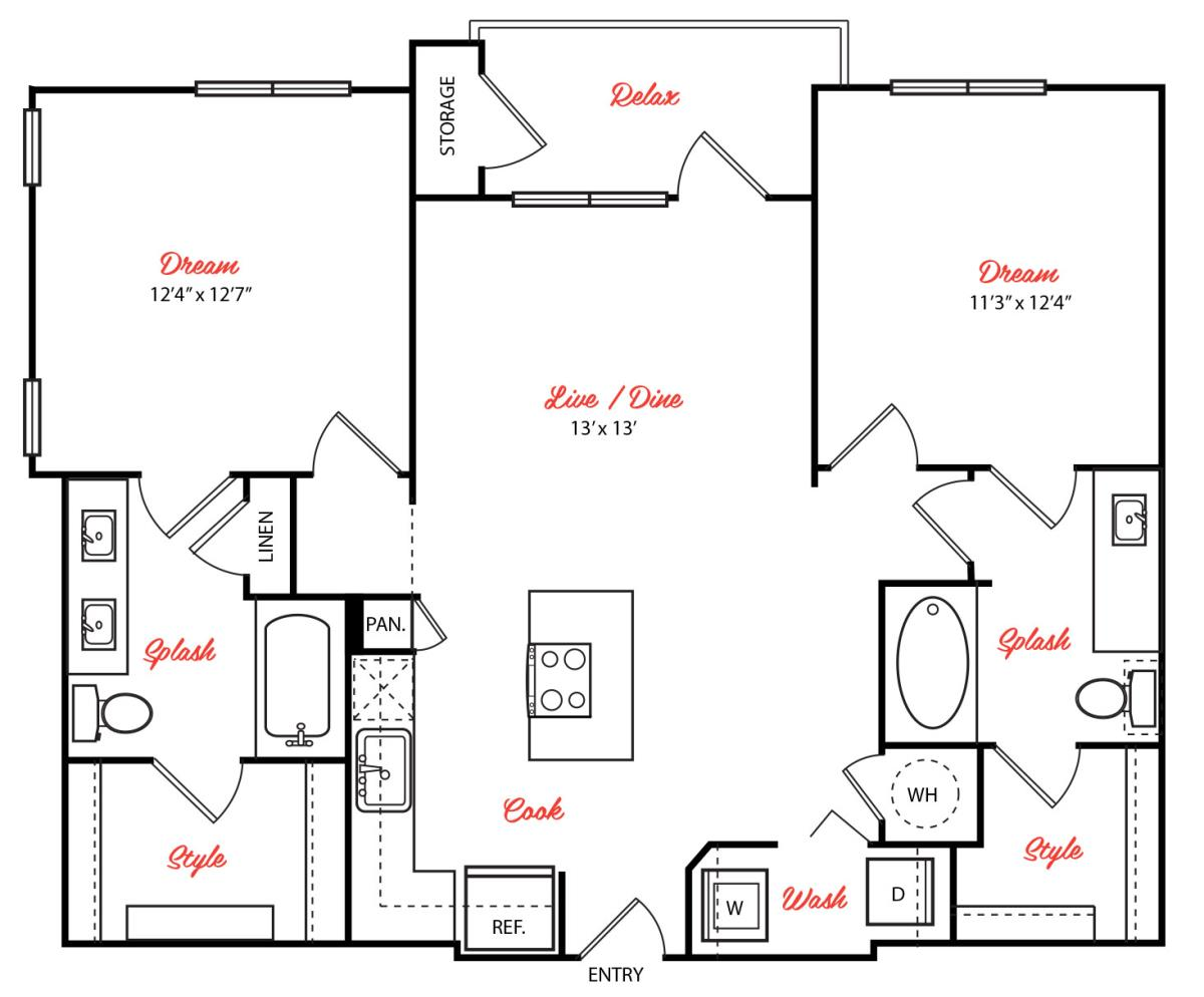 1,044 sq. ft. B1.1 floor plan