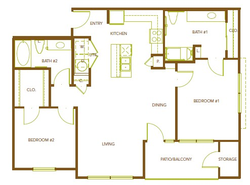 1,082 sq. ft. B4 floor plan