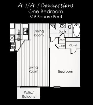 615 sq. ft. A1CONN floor plan