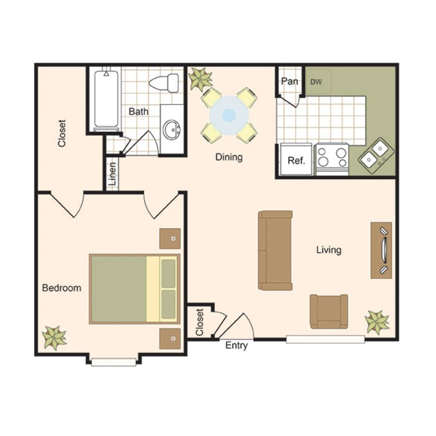 678 sq. ft. A2 floor plan