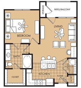 753 sq. ft. to 770 sq. ft. Red Oak floor plan