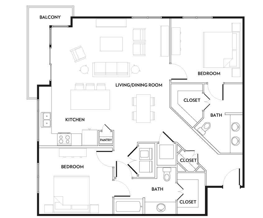 1,261 sq. ft. B3A floor plan