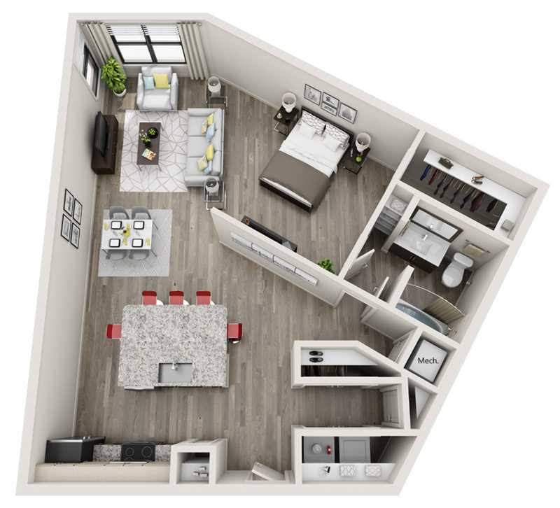 935 sq. ft. A5 floor plan