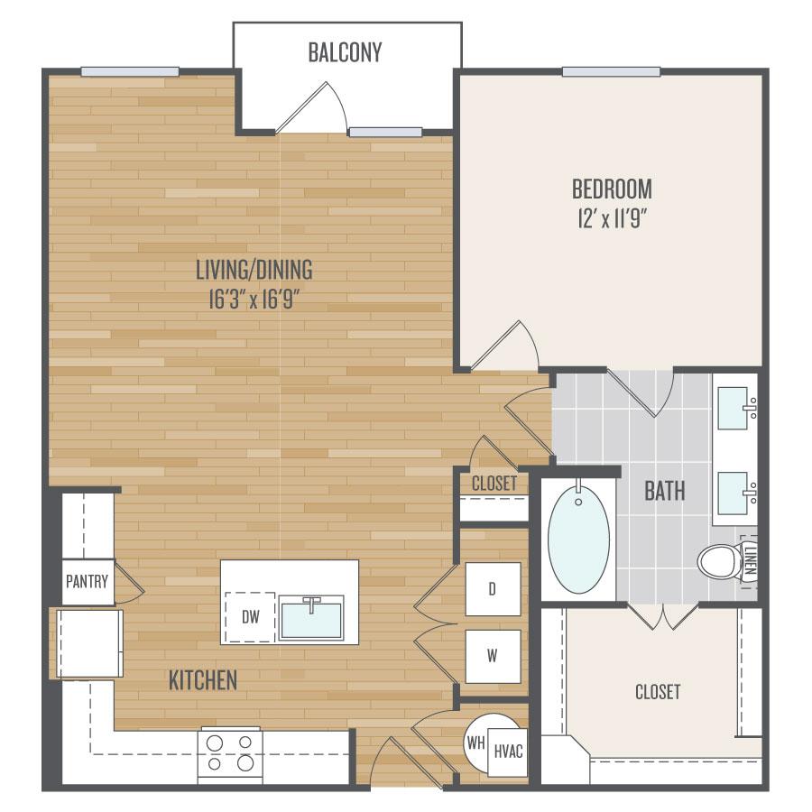 878 sq. ft. A9 floor plan