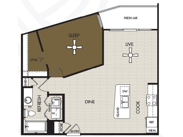 771 sq. ft. A1b floor plan