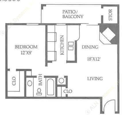 603 sq. ft. A3/50% floor plan