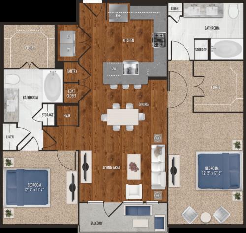 1,237 sq. ft. B7 floor plan