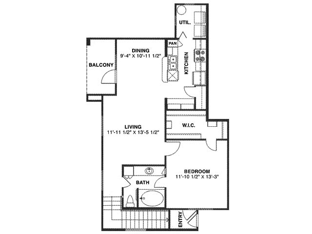 852 sq. ft. C/60% floor plan