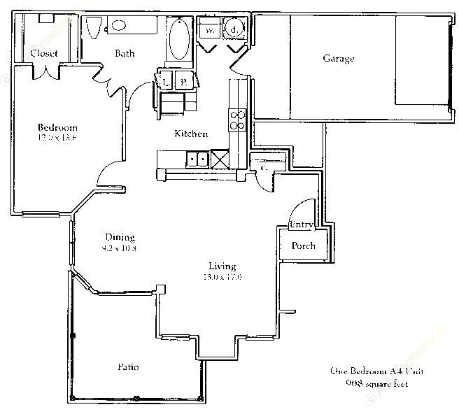 903 sq. ft. to 908 sq. ft. A4/Gar floor plan