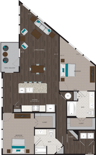 1,326 sq. ft. B6 floor plan