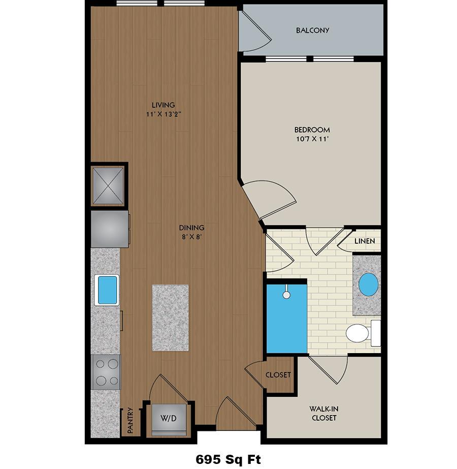 695 sq. ft. Drake floor plan