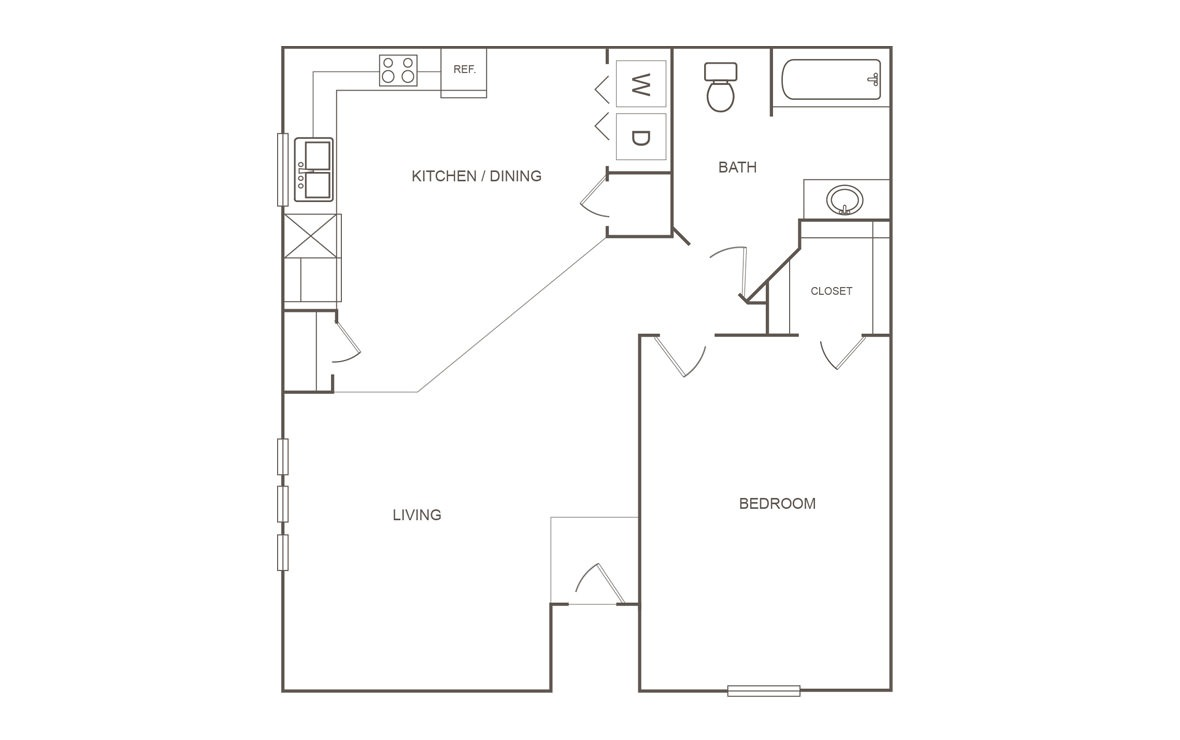 751 sq. ft. A/30% floor plan