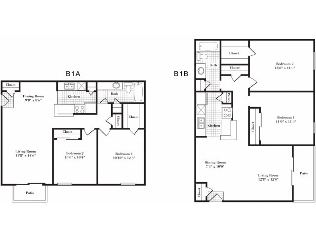 854 sq. ft. B1 II floor plan