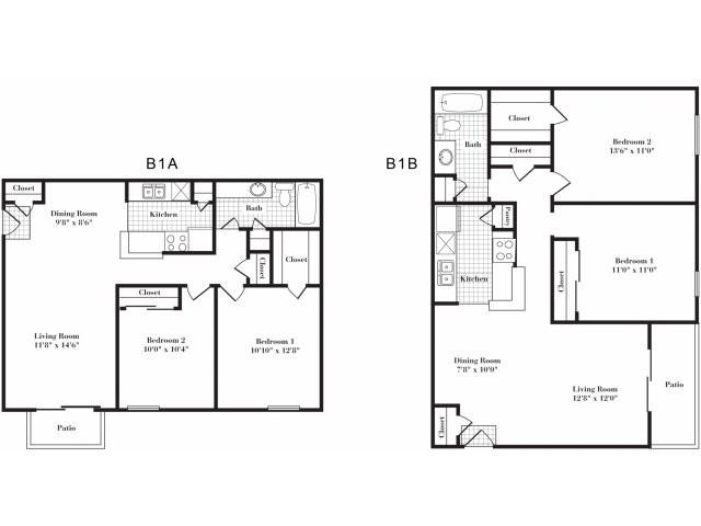 850 sq. ft. B1 I floor plan