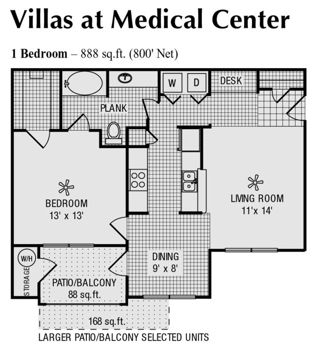 800 sq. ft. C floor plan