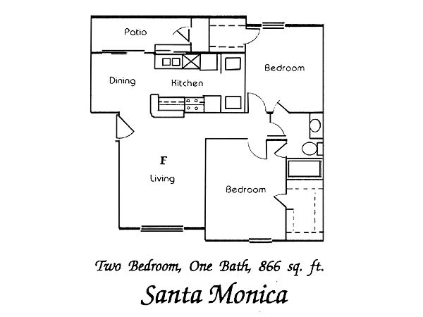 866 sq. ft. Santa Monica floor plan