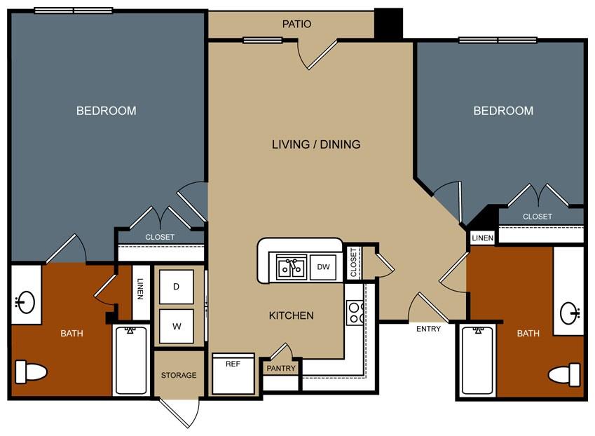 1,039 sq. ft. B5-30 floor plan