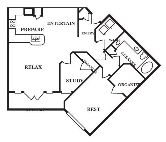1,066 sq. ft. C2 floor plan