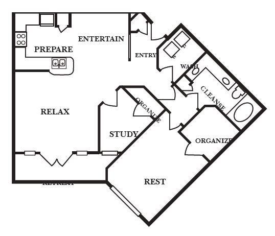 1,066 sq. ft. C2 floor plan