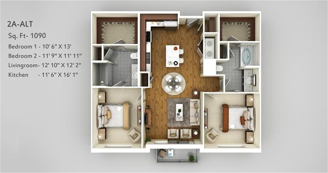 1,090 sq. ft. 2A Alt floor plan