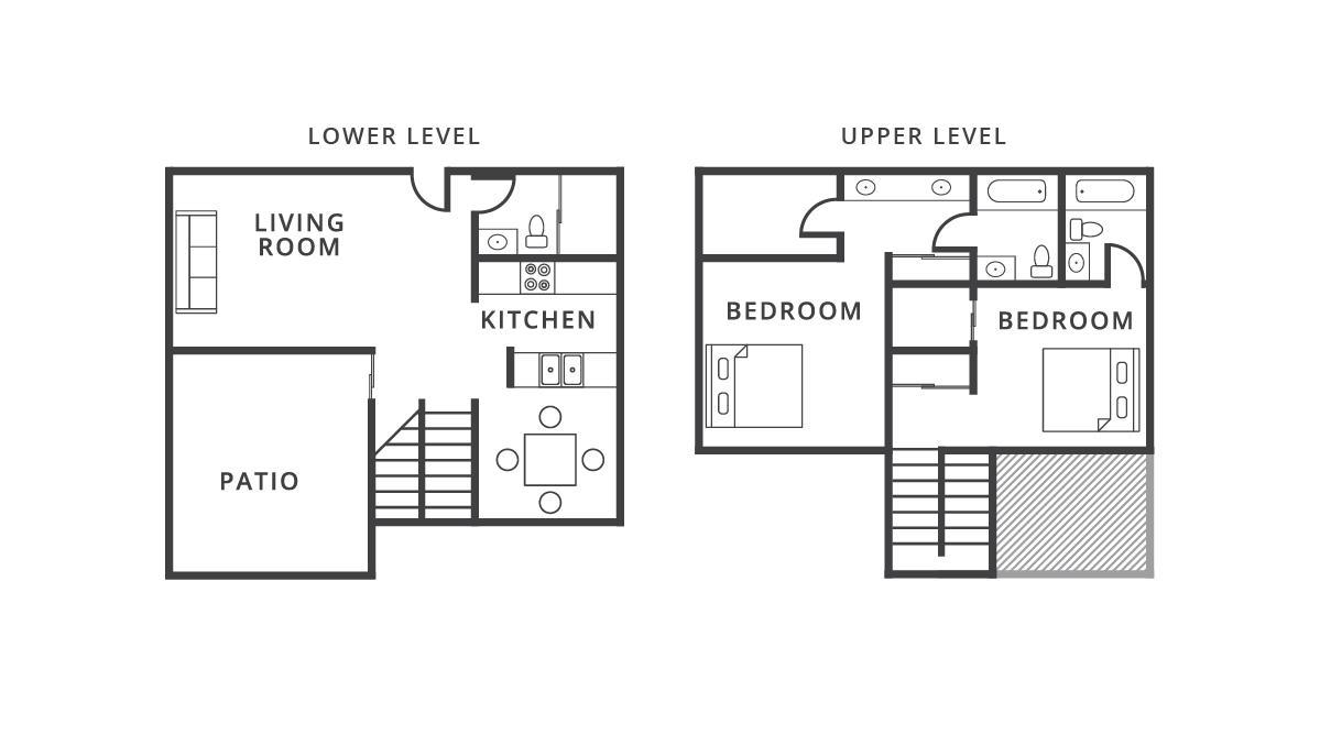 1,080 sq. ft. Barcelona floor plan